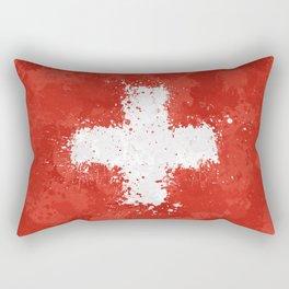 Switzerland Flag - Messy Action Painting Rectangular Pillow