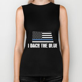 North Dakota Police Appreciation Thin Blue Line I Back The Blue 2 Biker Tank