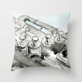 Tuba pistons Throw Pillow