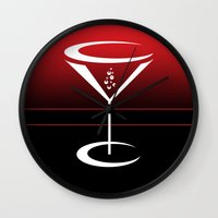 martini Wall Clocks featuring martini by daniel