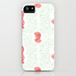 Ancient Greek Bust Pattern Floral in Watermelon Classic Design iPhone Case