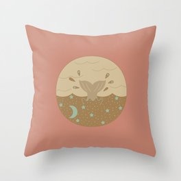 Vintage Swim Through the Night Throw Pillow