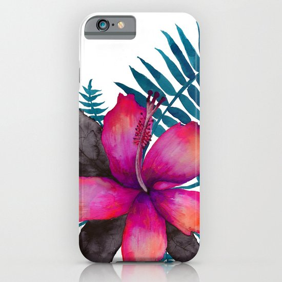 Pink Hibiscus Flower - WHITE iPhone & iPod Case