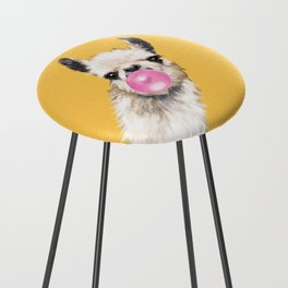 Bubble Gum Sneaky Llama in Yellow Counter Stool