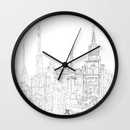 LDS Temple Collage Sketch Wall Clock