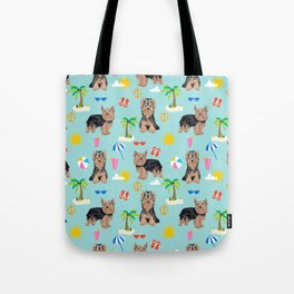 Yorkshire Terrier dog breed pet pattern dog art pet friendly terriers portrait beach summer Tote Bag