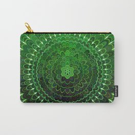 Green Flower Mandala Carry-All Pouch