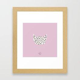 Litte leopard kitty cat animal print girls illustration pink Framed Art Print
