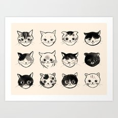 Cats Hair Styles Art Print