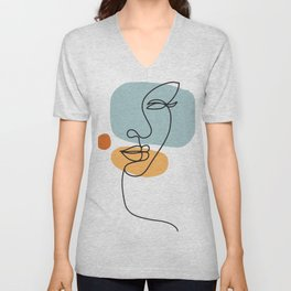 one line art, Portrait a woman in modern abstract style. Hand drawn  illustration Unisex V-Neck