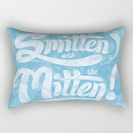 Smitten with the Mitten (Blue Version) Rectangular Pillow