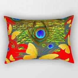 GREEN PEACOCK FEATHERS YELLOW BUTTERFLIES ON  RED ART Rectangular Pillow