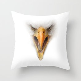 eagle face on white  Throw Pillow