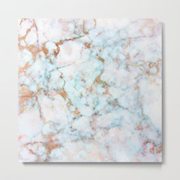 Soft Whites, Aquas and Blush of Pink and Rose Gold Veins Marble Metal Print