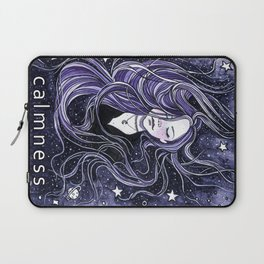 Calm, Calmness, Girl with Long Hair, Purple Painting, Watercolor Meditation Laptop Sleeve
