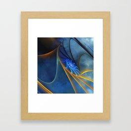 yellow and blue spirals Framed Art Print