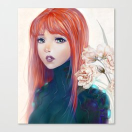 Captain Goldfish - Anime sci-fi girl with red hair portrait Canvas Print
