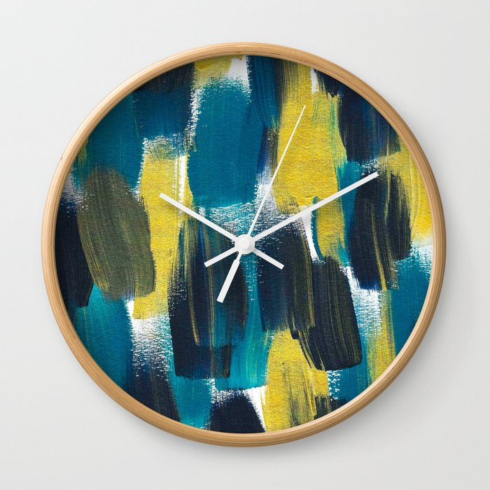 Peacock Brushstrokes Wall Clock