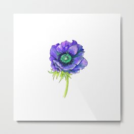 Blue Floral Elements Metal Print