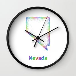 Rainbow Nevada map Wall Clock