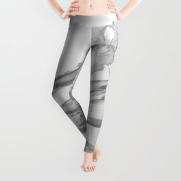 White Marble With Silver-Grey Veins Leggings
