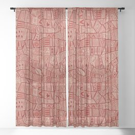 ESHE red mono Sheer Curtain
