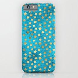 Beautiful Teal & Gold Dot Pattern iPhone Case