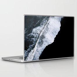 Waves crashing on a black sand beach – minimalist Landscape Photography Laptop & iPad Skin
