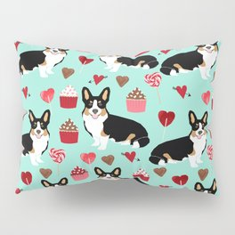 Welsh corgi valentines day gifts tri colored corgis cupcakes hearts love dog breed corgi crew Pillow Sham