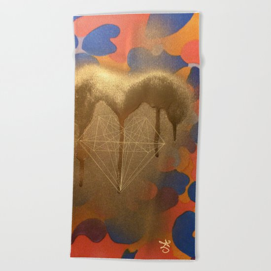 Golden Heart Collage - Spray Paint on Marker Beach Towel