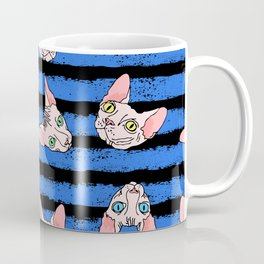 sphynx cats on blue and black Coffee Mug