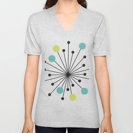 Atomic Age Nuclear Motif — Mid Century Modern Unisex V-Neck