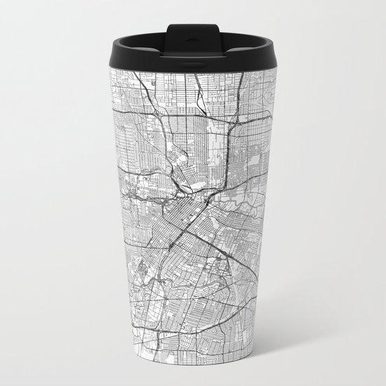 Houston Map Line Metal Travel Mug