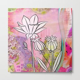 Pod and Daffodil Garden Metal Print