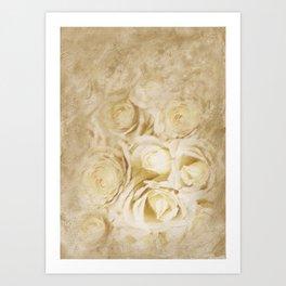 White Roses Digital Painting Art Print