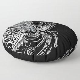 Black And White Hawaiian Tribal Floor Pillow