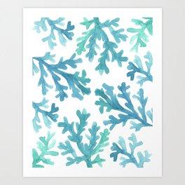 Blue Ombre Coral Kunstdrucke
