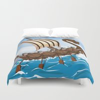 vikings Duvet Covers featuring The Vikings by Nick's Emporium