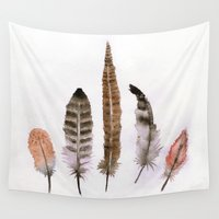 feathers Wall Tapestries featuring Feathers by emegi