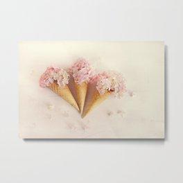 fresh flowers in ice cream cone Metal Print