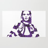 lara croft Area & Throw Rugs featuring Fashion Lara Stone by fashionistheonlycure