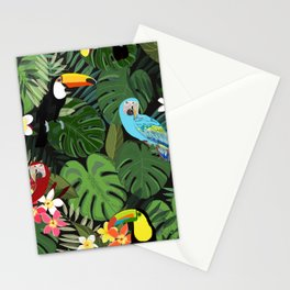 Tropical forest and birds pattern black background Stationery Cards