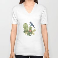 cactus V-neck T-shirts featuring Cactus by Edurne Lacunza