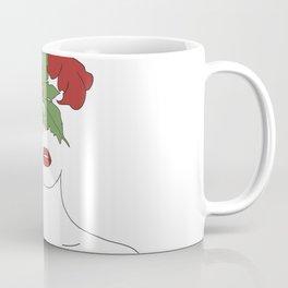 Minimal Line Art Woman with Hibiscus Coffee Mug