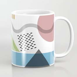 Geometric abstract art, pastel tones shapes and dots print Coffee Mug