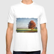 dressed in autumn White MEDIUM Mens Fitted Tee