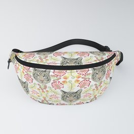 White Bengal Tiger Pattern, White Background Fanny Pack