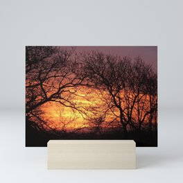 TREES SILHOUETTED BY FIERY DAWN SUNRISE IN DEVON Mini Art Print
