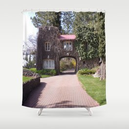 Beautiful Rock Building With Stone Path Through It Surrounded by Green Shower Curtain