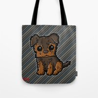caleb troy Tote Bags featuring Troy - Silky Terrier by Sylvester Pyke